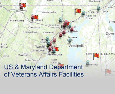 Map of U.S. and MD Dept of Veterans Affairs Facilities